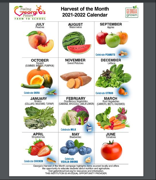 SNAP-Ed Harvest of the Month Calendar